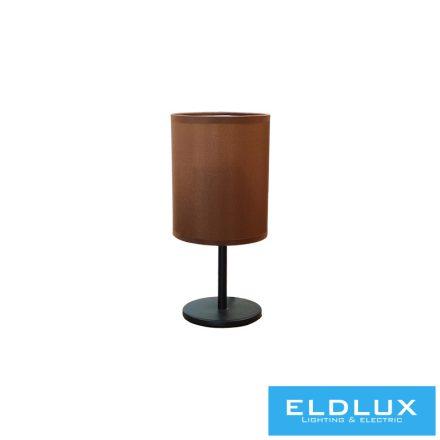 Asztali Lámpa Fekete kör alap Barna TC egyenes Lámpaernyővel E14