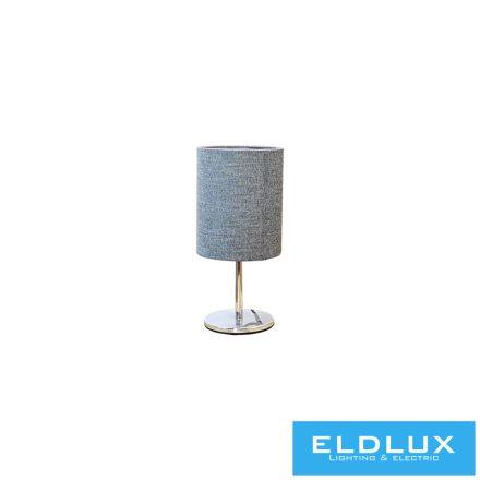 Asztali Lámpa Króm kör alap S-Szürke TC egyenes Lámpaernyővel E14