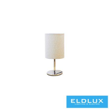 Asztali Lámpa Króm kör alap V-Barna TC egyenes Lámpaernyővel E14