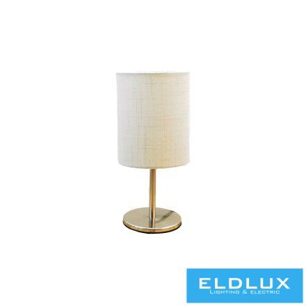 Asztali Lámpa Nikkel kör alap Fehér TC egyenes Lámpaernyővel E14