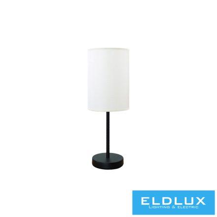 Asztali Lámpa Fekete kör alap bézs TC egyenes lámpaernyővel E14