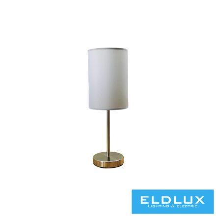 Asztali Lámpa Nikkel kör alap szürke TC egyenes lámpaernyővel E14