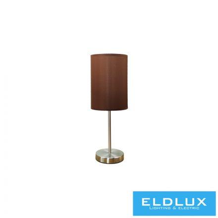 Asztali Lámpa Nikkel kör alap barna TC egyenes lámpaernyővel E14