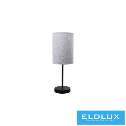 Asztali Lámpa Fekete kör alap v-szürke TC egyenes lámpaernyővel E14