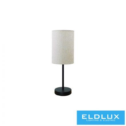 Asztali Lámpa Fekete kör alap v-barna TC egyenes lámpaernyővel E14