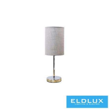 Asztali Lámpa Króm kör alap v-szürke TC egyenes lámpaernyővel E14
