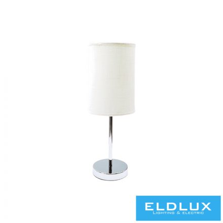 Asztali Lámpa Króm kör alap fehér TC egyenes lámpaernyővel E14