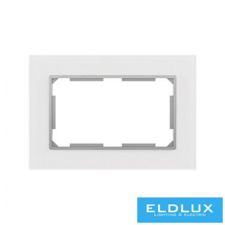 ELDIRA Dupla 2P+F konnektorhoz üveg keret Fehér