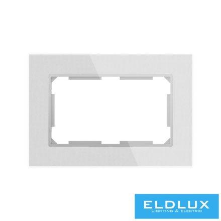 ELDIRA Dupla 2P+F konnektorhoz üveg keret Ezüst