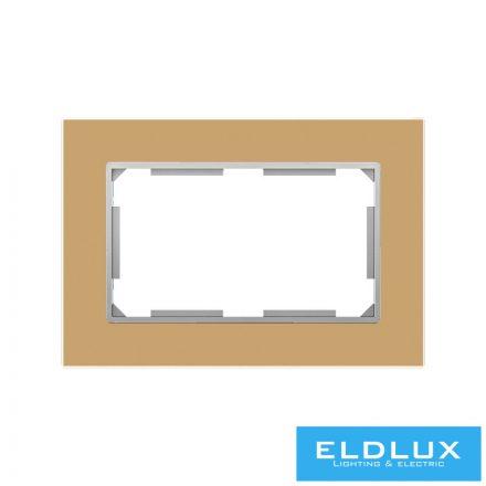ELDIRA Dupla 2P+F konnektorhoz üveg keret Arany