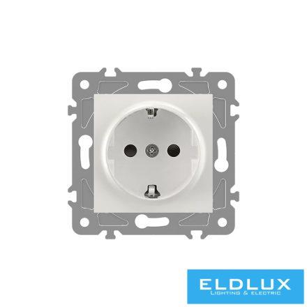 ELDGROUND 2P+F konnektor gyerekvédelemmel Fehér Csavaros