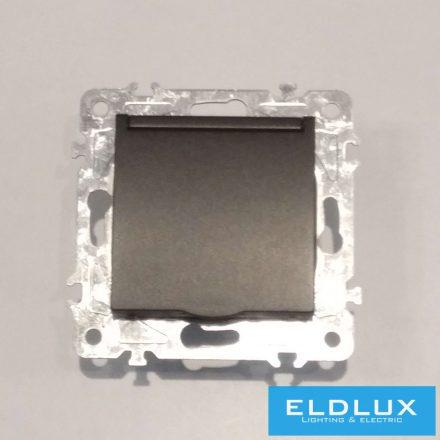 ELDGROUND 2P+F konnektor gyerekvédelemmel csapfedéllel Fekete Csavaros