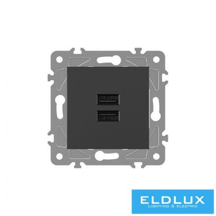 ELDGROUND 2×USB töltő ajzat type A 2.1A/2×1.05A Fekete