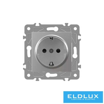 ELDGROUND 2P+F konnektor gyerekvédelemmel Ezüst Csavaros