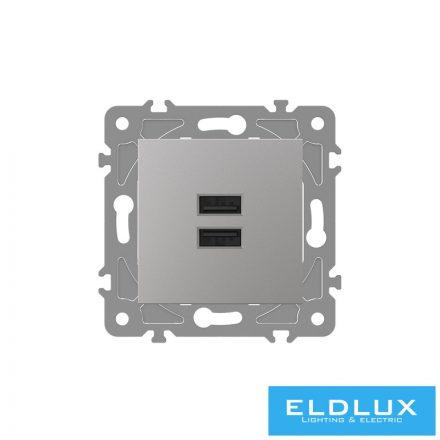 ELDGROUND 2×USB töltő ajzat type A 2.1A/2×1.05A Ezüst