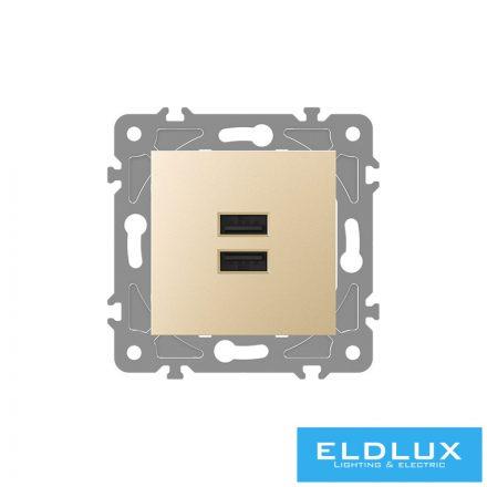 ELDGROUND 2×USB töltő ajzat type A 2.1A or 2×1.05A Arany