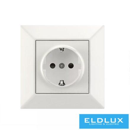 ELDGROUND 2P+F konnektor gyerekvédelemmel Fehér Rugós