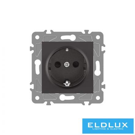 ELDGROUND 2P+F konnektor gyerekvédelemmel Fekete Rugós
