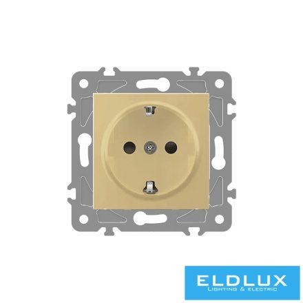 ELDGROUND 2P+F konnektor gyerekvédelemmel Arany Rugós